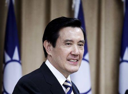 Taiwan President Ma Ying-jeou arrives at Taiwan's Mainland Affairs Council in Taipei