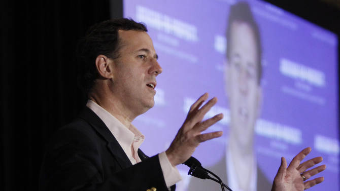 Republican presidential candidate, former Pennsylvania Sen. Rick Santorum, campaigns at the San Marino Club during a campaign stop, Saturday, Feb. 25, 2012, in Troy, Mich.  (AP Photo/Eric Gay)