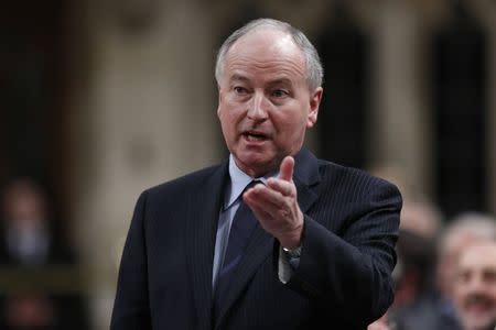 Canada's Foreign Minister Nicholson speaks in the House of Commons in Ottawa