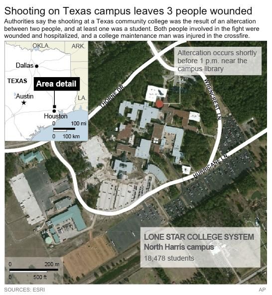 Map locates Lone Star College system's Harris County campus where a fight between two people led to a shooting