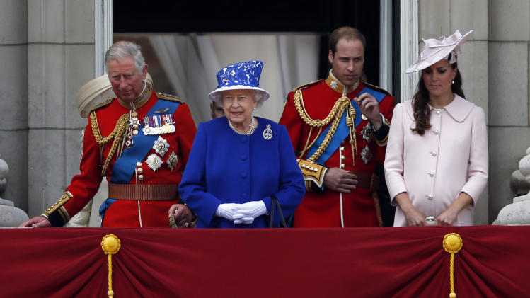 "Britain's Queen Elizabeth II, second left, arrives on the balcony of Buckingham Palace with Prince Charles, left, Prince William and Kate, Duchess of Cambridge to watch the Royal Air Force fly, part of the Trooping The Colour parade,  in London, Saturday, June 15, 2013. Queen Elizabeth II celebrated her birthday with traditional pomp and circumstance _ but without her husband by her side.  Prince Philip remains in the hospital, recovering from exploratory abdominal surgery. The queen invited her cousin, the Duke of Kent, to accompany her in a vintage carriage. Other royals — including Prince Harry and the Duchess of Cambridge — joined in the celebration Saturday. More than 1,000 soldiers, horses and musicians are taking part in the parade known as ""Trooping the Color,"" an annual ceremony. (AP Photo/Sang Tan)"