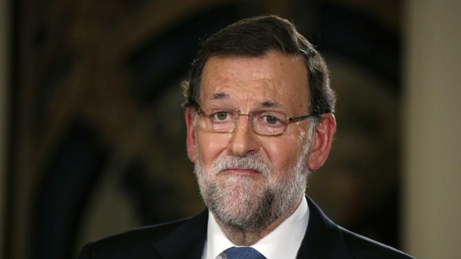 Spanish Prime Minister Mariano Rajoy speaks during a news conference after the weekly cabinet meeting in Moncloa Palace in Madrid