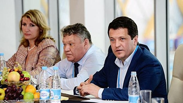 Rafis Burganov, Minister of Youth, Sports and Tourism of the Republic of Tatarstan, Ilsur Metshin, Mayor of Kazan, Larisa Sulima, Deputy Director General of the Kazan 2013 Executive Directorate