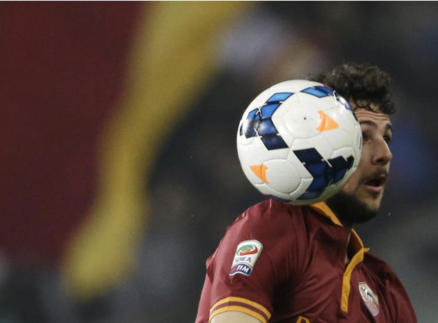AS Roma's Mattia Destro controls the ball during a Serie A soccer match between AS Roma and Udinese in Rome's Olympic stadium, Monday, March 17, 2014