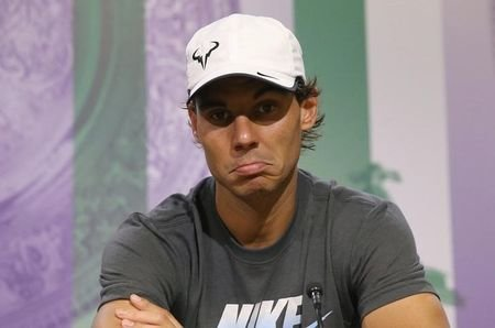Rafael Nadal of Spain attends a news conference after being defeated by Nick Kyrgios of Australia at Wimbledon. He hasn't played since. (REUTERS/Scott Heavey/AELTC/Pool)