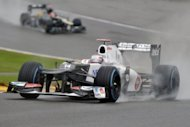 Sauber's Japanese driver Kamui Kobayashi drives during the first practice session at the Spa Francorchamps circuit on Friday. Formula One fans were left disappointed on Friday after heavy rain meant very little track action during the second practice for Sunday's Belgian Grand Prix