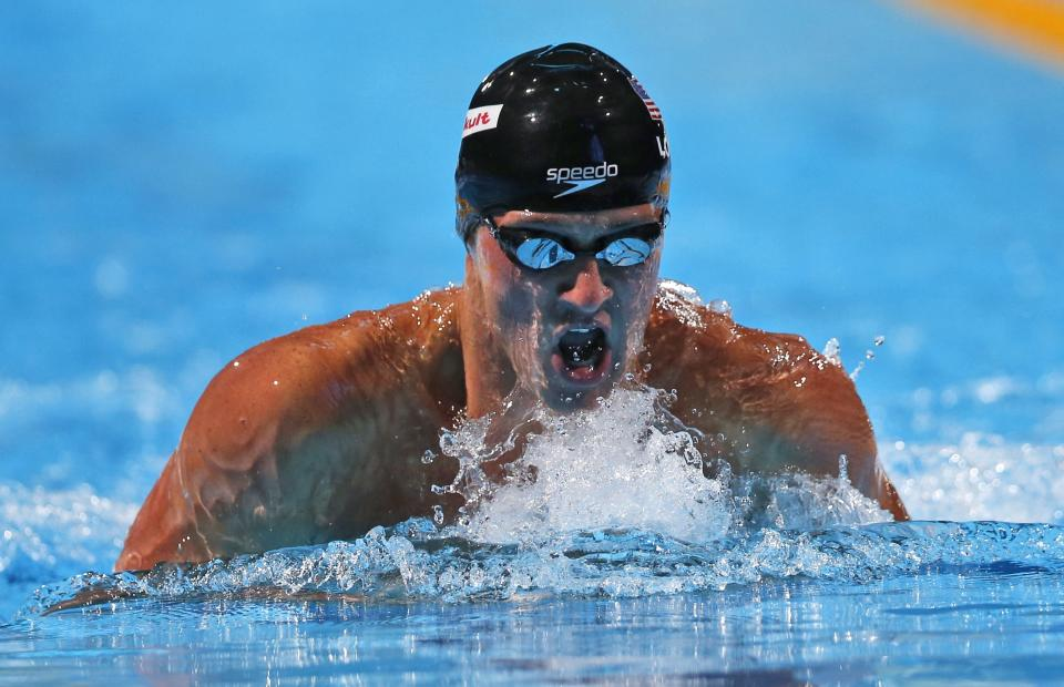 Ryan Lochte of the United States swims to the gold medal in the Men's 200m individual medley final at the FINA Swimming World Championships in Barcelona, Spain, Thursday, Aug. 1, 2013. (AP Photo/Michael Sohn)
