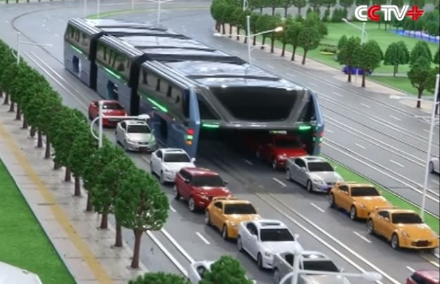 China wants to battle traffic jams with this crazy futuristic bus