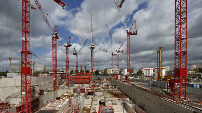 A general view shows cranes at the building construction site of the new Law Court complex in Paris, France