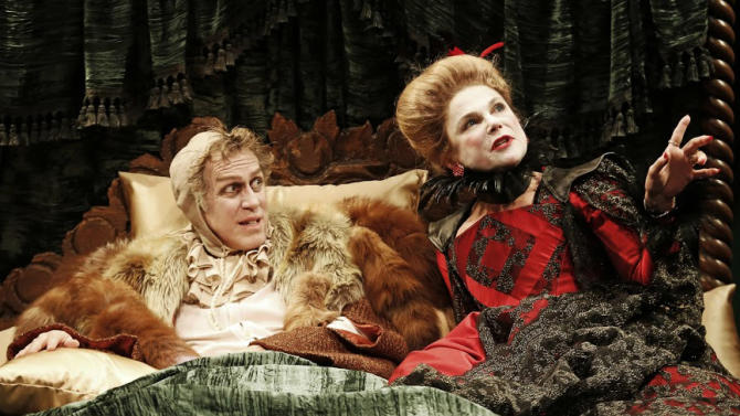 """This undated publicity photo released by David Gersten and Associates shows, from left, Stephen Spinella and Tovah Feldshuh, in a scene from Red Bull Theater's production of Ben Jonson's classic """"Volpone,"""" currently performing off-Broadway at the Lucille Lortel Theatre in New York.  (AP Photo/David Gersten and Associates, Carol Rosegg)"""
