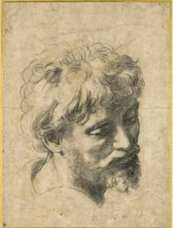 Undated photo supplied by Sotheby's in London showing the drawing entitled Head of a Young Apostle (c. 1519-20) by Italian artist Raphael, which has sold Wednesday Dec. 5, 2012, at auction for a record pounds 29.7 million (US dlrs 47.8 million / euro 36.6 million) at auction. The black chalk artwork on paper known as an auxiliary cartoon sold for nearly three times its original estimated value. (AP Photo/Sotheby's)