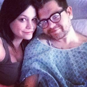 Jack Osbourne and Lisa Stelly  seen in the hospital in Los Angeles after his appendix removed on March 26, 2012 -- Twitter