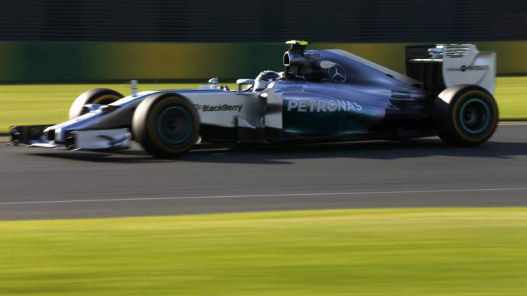 Mercedes Formula One driver Rosberg of Germany drives during the second practice session of the Australian F1 Grand Prix in Melbourne