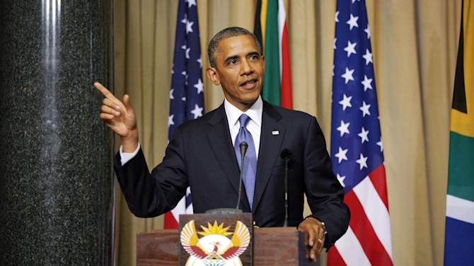 U.S. President Barack Obama and South African President Jacob Zuma, not pictured, address a press conference following their meeting at Union Building in Pretoria, South Africa, Saturday June 29, 2013.(AP Photo/Jerome Delay)