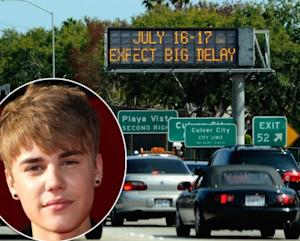 Justin Bieber / Los Angeles' 405 freeway -- Getty Images