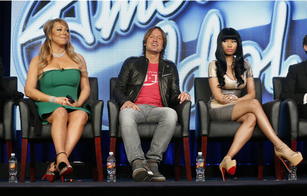 In this Jan. 8, 2013 photo, from left, Mariah Carey, Keith Urban and Nicki Minaj from &quot;American Idol&quot; attend the Fox Winter TCA Tour at the Langham Huntington Hotel, in Pasadena, Calif. &quot;American Idol