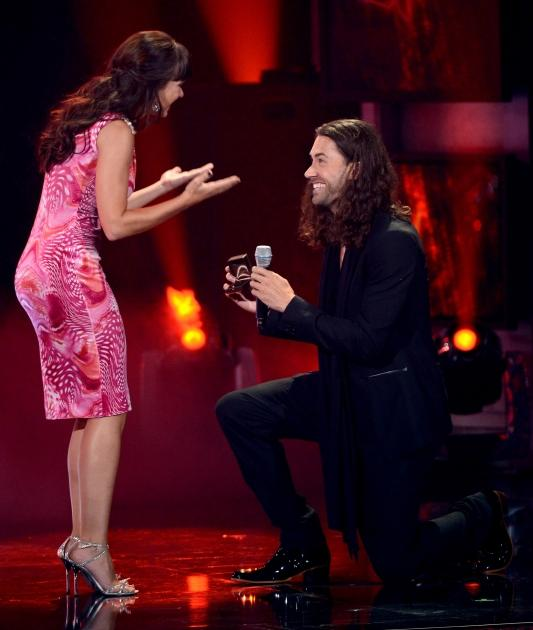 Ace Young proposes to Diana DeGarmo onstage during FOX's 'American Idol 2012' results show at Nokia Theatre L.A. Live on May 23, 2012 -- Getty Images