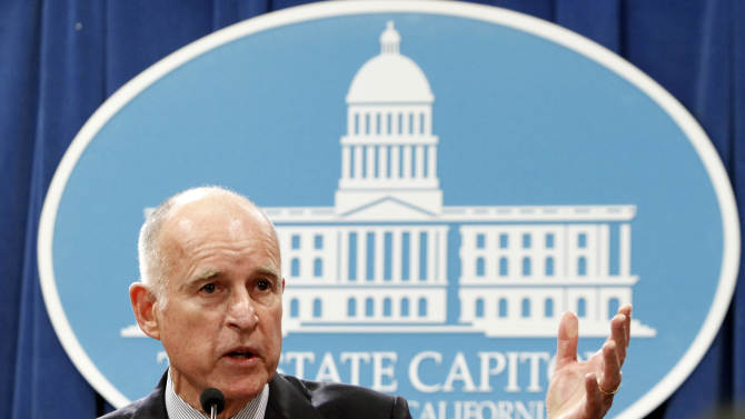 Gov. Jerry Brown discusses his revised state budget plan during a Capitol news conference in Sacramento, Calif., Monday, May 14, 2012.  Brown said the budget shortfall swelled from $9.2 billion predicted in January to $16 billion, in part because tax collections have not come in as high as expected and  lawsuits and federal requirements that have blocked billions of dollars in state cuts. (AP Photo/Rich Pedroncelli)
