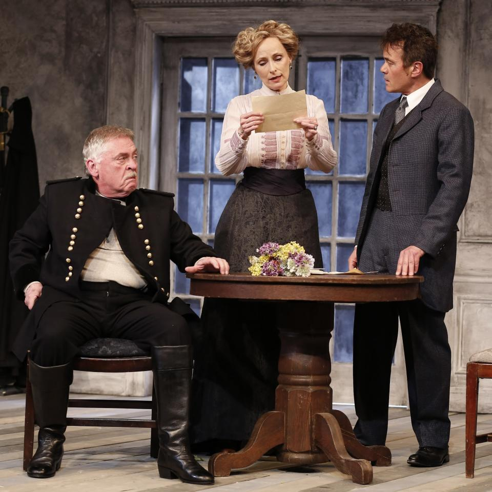 "This theater publicity image released by David Gersten & Associates shows, from left, Daniel Davis, Laila Robins and Derek Smith, in a scene from the Red Bull Theater adaptation of August Strindberg's ""Dance of Death"", currently performing off-Broadway at the Lucille Lortel Theatre in New York.  (AP Photo/David Gersten & Associates, Carol Rosegg)"
