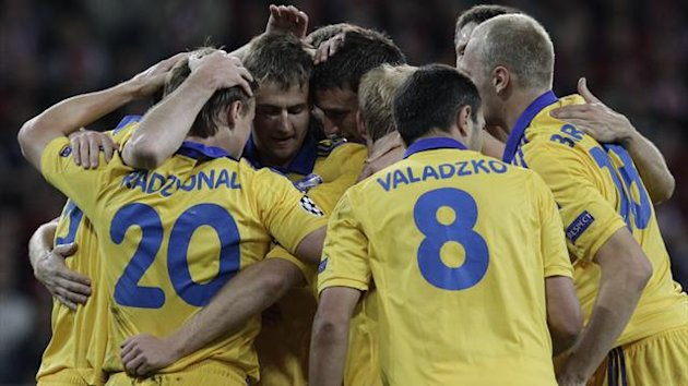 BATE Borisov's Vitali Rodionov (L) celebrates after scoring the second goal for the team during their Champions League match against Lille at the Lille Grand Stade stadium in Villeneuve d'Ascq (Reuters)