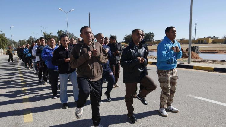 Libyan army recruits train in Tripoli