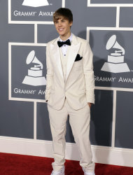 Justin Bieber arrives at the 53rd annual Grammy Awards on Sunday, Feb. 13, 2011, in Los Angeles.