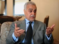 FILE - In this Tuesday, April 17, 2012 file photo, Iraq's vice president Tariq al-Hashemi speaks in Istanbul, Turkey. An Iraqi court found the nation's Sunni vice president guilty Sunday, Sept. 9, 2012, of running death squads against security forces and Shiites, and sentenced him to death in absentia. (AP Photo, File)