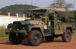 French soldiers are seen on their military vehicle in Bangui