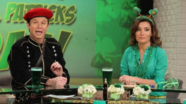 Billy Bush and Kit Hoover celebrate St. Patrick's Day early on Access Hollywood Live on March 15, 2013 -- Access Hollywood