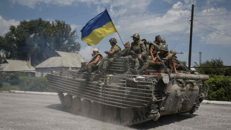 Ukrainian troops are pictured in the eastern Ukrainian town of Seversk