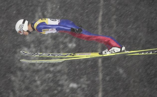 Magnus Krog of Norway jumps at the large hill during the FIS Nordic Combined World Cup competition in Lillehammer