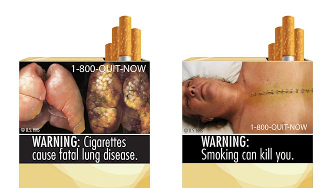 FILE - This file combo made from images provided by the U.S. Food and Drug Administration shows two of nine new warning labels cigarette makers will have to use by the fall of 2012. A federal appeals court is considering the constitutionality of requiring large graphic photos on cigarette packs to show that smoking can harm or kill smokers.   (AP Photo/U.S. Food and Drug Administration, File)