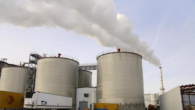 FILE - In  this Jan. 6, 2015 file photo, steam blows over fermentation tanks at the Green Plains ethanol plant in Shenandoah, Iowa.  Hawaii is poised to end a mandate that fuel for automobiles must be mixed with 10 percent ethanol, and it could become the second state to do so. (AP Photo/Nati Harnik)