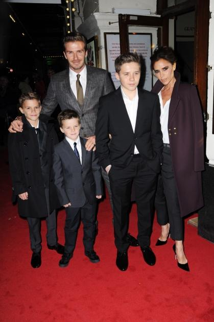 Romeo Beckham, Cruz Beckham, David Beckham, Brooklyn Beckham and Victoria Beckham attend the 'Viva Forever' press night at The Piccadilly Theatre on December 11, 2012 in London -- Getty Premium