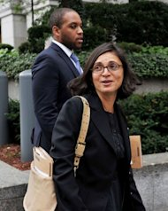 Defence lawyers Sabrina Shroff (R) and Jerrod Thompson-Hicks (L) leave Federal Court in New York after their client terror suspect radical Islamist preacher Abu Hamza al-Masri appeared before US Judge Frank Maas