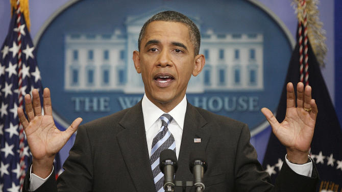 President Barack Obama answers questions on the ongoing budget negotiations during a press conference in the Brady Briefing Room of the White House in Washington, Friday, July 15, 2011. (AP Photo/Pablo Martinez Monsivais)
