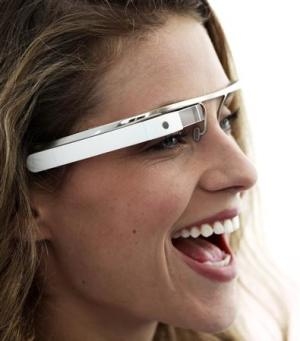 Publicity photo of prototype of Google Glasses