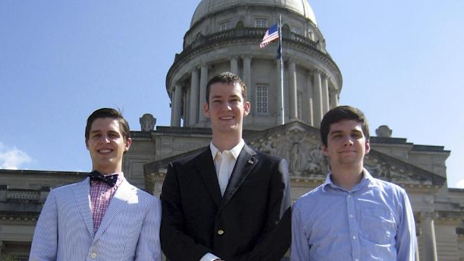 "In this May 24, 2012, photo, John Ramsey, center, accompanied by Preston Bates left, and Doug Lusco, right, young Republicans involved in the Liberty For All political group, stand in front of the state Capitol in Frankfort, Ky. John Ramsey stands out in a new campaign finance world order filled with big names like Republican casino mogul Sheldon Adelson and Democratic Hollywood producer Jeffrey Katzenberg. The little-known senior at Stephen F. Austin University.is the founder of a team of college-aged Republicans that liberals have dubbed the ""Brat PAC,"" which helped propel one congressional candidate to victory and intends to get involved in other House races. And he's just the latest wealthy individual to try to influence federal elections in the wake of a series of federal court decisions that deregulated the campaign finance system and dramatically changed the country's political landscape.  (AP Photo/Roger Alford)"