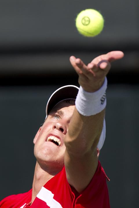 Canadian tennis player Vasek Pospisil serves the ball to Israeli player Dudi Sela during their Davis Cup match on September 16, 2011 at the Canada stadium in Ramat Hasharon, north of Tel Aviv. Israel