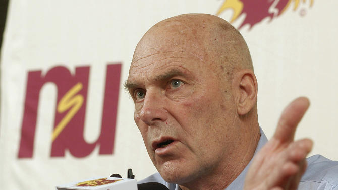 In this Feb. 27, 2010 file photo, Northern State coach Don Meyer addresses the media after an NCAA college basketball game in Aberdeen, S.D., where he announced he would be retiring. Meyer, one of the winningest coaches in college basketball who came back from a near-fatal car accident and liver cancer before closing out his career, has died in South Dakota. He was 69