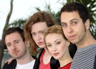 "Director Brandon Cronenberg (R), actor Caleb Landry Jones (2nd L) and actress Sarah Gadon (2nd R) pose during a photocall for ""Antiviral"" at the Cannes film festival on May 20. Cronenberg premiered his first feature film, ""Antiviral"", in the festival's new talent section"