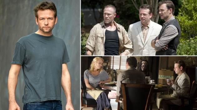 Dallas Roberts (left); Dallas as Milton with Michael Rooker (Merle) and David Morrissey (The Governor) (top right); with Laurie Holden (Andrea) and Michonne (bottom right) -- Gene Page/AMCClay Enos