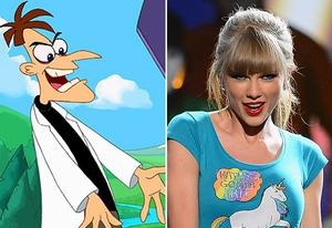 Phineas and Ferb, Taylor Swift | Photo Credits: Disney Channel; Ethan Miller/Getty Images