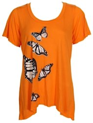 c neck butterflies tee
