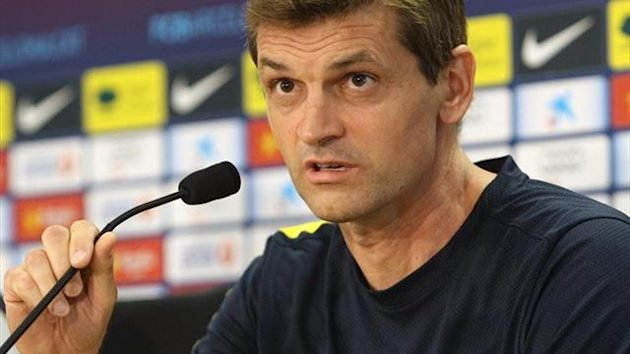 Tito Vilanova en rueda de prensa con el Barcelona