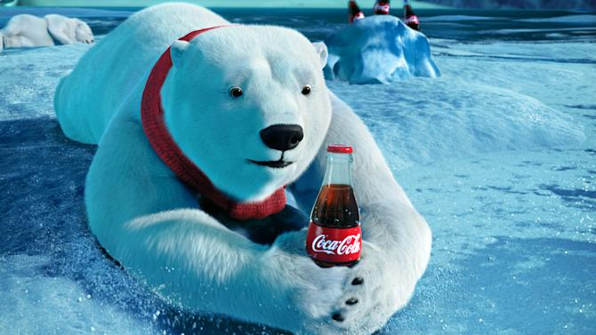 """This video still provided by the Coca-Cola Co. and Wieden + Kennedy, shows the polar bears advertisement the """"Catch,"""" that will be aired during Super Bowl XLVI, Sunday, Feb. 5, 2012. (AP Photo/Coca-Cola Co.)"""
