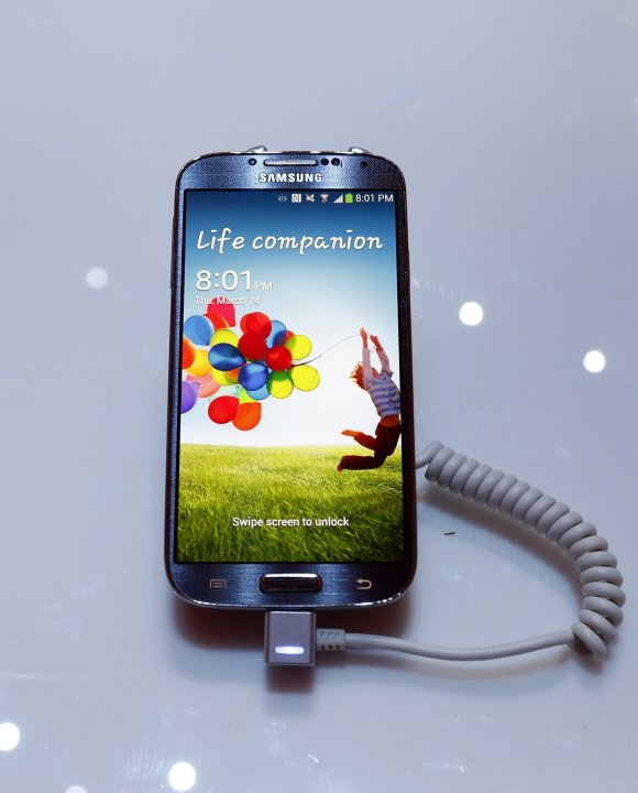 Samsung Electronics Co's latest Galaxy S4 phone is seen during its launch in New York