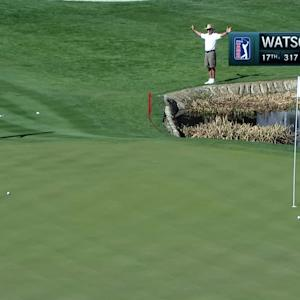 Bubba Watson's eagle chip-in on the par-4 17th at Waste Management