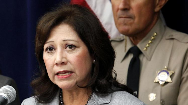 """FILE - In this Nov. 16, 2012 file photo Labor Secretary Hilda Solis speaks in Los Angeles. This is what """"Forward"""" looks like. Fast forward, even. President Barack Obama's campaign slogan is springing to life in a surge of executive directives and agency rulemaking touching many of the affairs of government. They are shaping the cost and quality of health plans, the contents of the school cafeteria, the front lines of future combat, the price of coal. They are the leading edge of Obama's ambition to take on climate change in ways that may be unachievable in legislation.  (AP Photo/Richard Vogel, File)"""