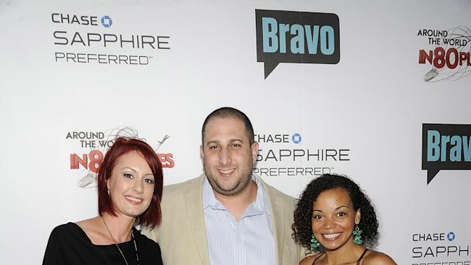 """COMMERCIAL IMAGE - The final three """"Around the World in 80 Plates"""" contestants Avery Pursell, left, Steve """"Nookie"""" Postal and Liz Garrett attend the """"Around the World in 80 Plates"""" Finale Sneak Peek Party presented by Chase Sapphire Preferred and Bravo on Thursday, July 12, 2012 in New York, NY.  (Photo by Evan Agostini/Invision for Chase Sapphire Preferred/AP Images)"""